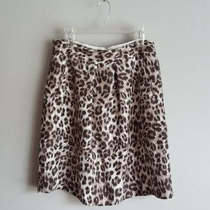 Banana Republic Silk Leopard Print Midi Skirt